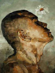 A man who is sensitive, oil on canvas 76cm x 102cm