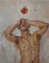 A man who loves tomato, Oil On Canvas 92cm x 117cm
