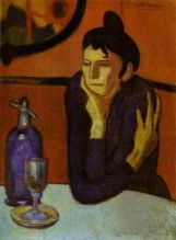 Absinthe Drinker by Pablo Picasso (1901-02) / oil on canvas / 73 x 54 cm / Hermitage Museum, Saint Petersburg, Russia (source: wikipedia)