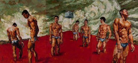 relationship, oil on canvas 112cm x 246cm