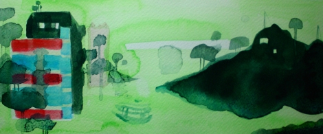 Green Hill (no.5) 2016, 12 x 32 cm, Watercolor on paper