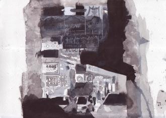 Mong Kok (Portland Street) 2015, 18 x 25.5 cm, Watercolor on paper
