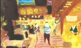 Monk Kok (Portland street) 2016, 12 x 18 cm Watercolor on paper