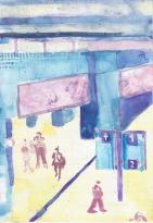 Railway Station ( Tai Po ) 2015 watercolor on paper 7''1 x 5