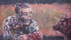 怯你就輸左成世, 140x80cm, oil on wood board, 2014