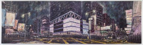旺角 (MongKok), 672x208cm (168x208cm each, 4 panels), oil on canvas, 2014