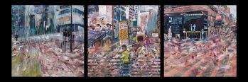 流 (Flow), Street), 80X80cm (3 panels), oil on canvas, 2014