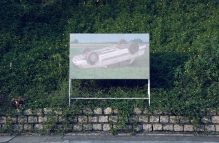 A Drowsy Car 168 x 183 x 50 cm Oil on canvas and aluminum a-frame stand 2011