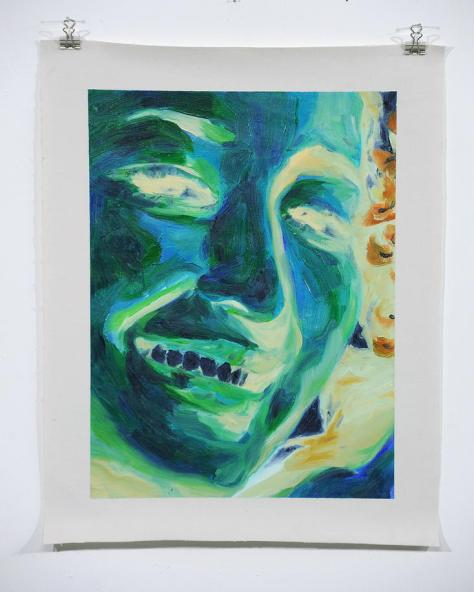 咧齒一笑 Oil on canvas, video  (canvas 39x49cm) 2011 Image courtesy of Solomon Yu