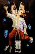 拉錬人——悼小悅悅, 淋漓、淋浪 油畫組件兩幅 - 左: 淋浪 右: 淋漓 油彩布本 125x200cm 2012