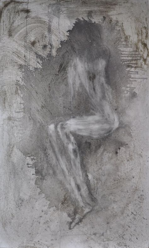Pain 2012 Ink and sand on canvas 152 x 92 cm