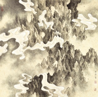 The Cliff in Mirage III 蜃壁之三 , Ink and color on paper , 49×49, 2015