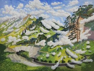 WONG Chun Hei, The Cloud Play, 2016, oil on canvas, 30 x 40 cm