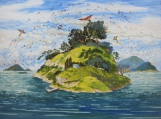 WONG Chun Hei, The Islands of Kites, 2016, Oil on canvas, 30 x 40 cm