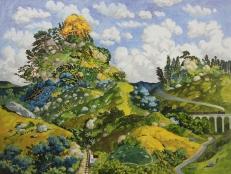 WONG Chun Hei, The Train and The Mountain, 2016, Oil on canvas_30 x 40 cm