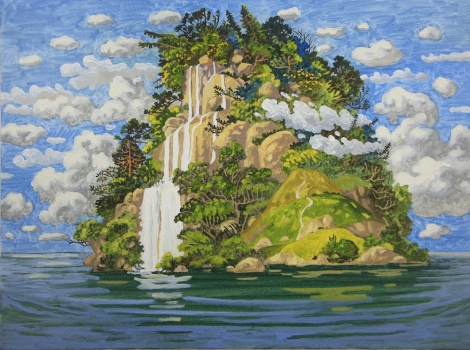 WONG Chun Hei, The Waterfall Mountain, 2016, oil on canvas, 30 x 40 cm