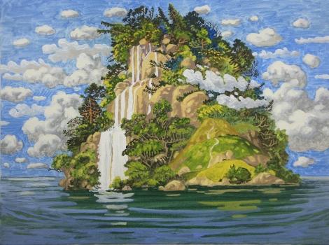 WONG Chun Hei, The Waterfall Mountain, 2016, oil on canvas, 30 x 40 cm